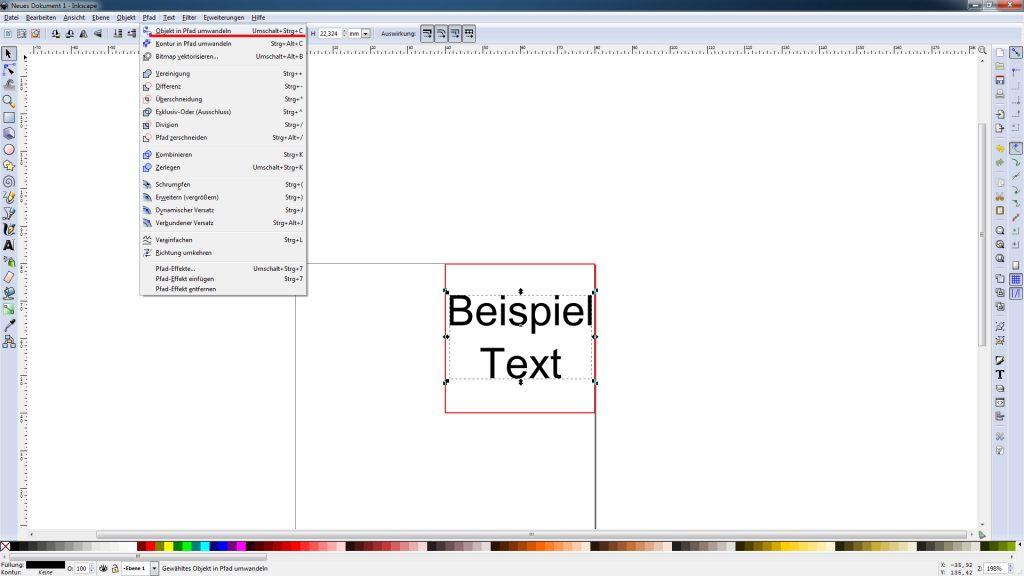 Inkscape Objekte in Pfad umwandeln