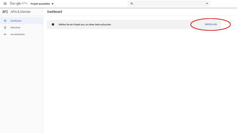 YouTube Api Projekt erstellen