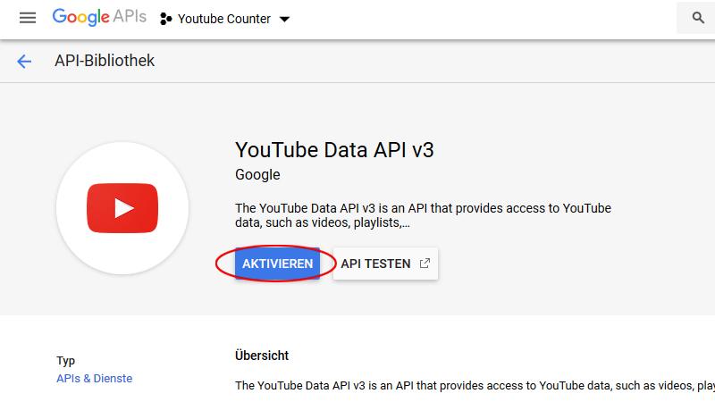 YouTube Data Api v3 aktivieren
